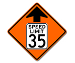 Speed Reduced Reflective Sign